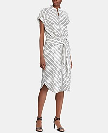 Lauren Ralph Lauren Stripe-Print Crepe Shirtdress
