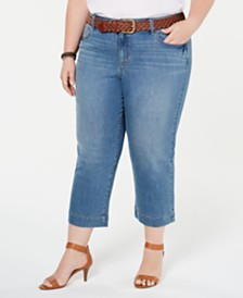 Style & Co Plus Size Braided-Belt Capri Jeans, Created for Macy's