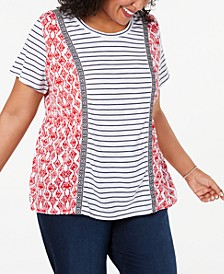 Plus Size Mixed-Print T-Shirt, Created for Macy's