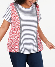 Style & Co Plus Size Mixed-Print T-Shirt, Created for Macy's