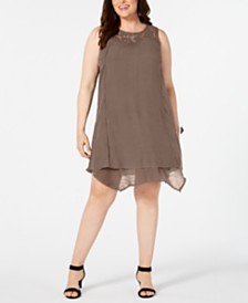 Style & Co Plus Size Embroidered Dress, Created for Macy's