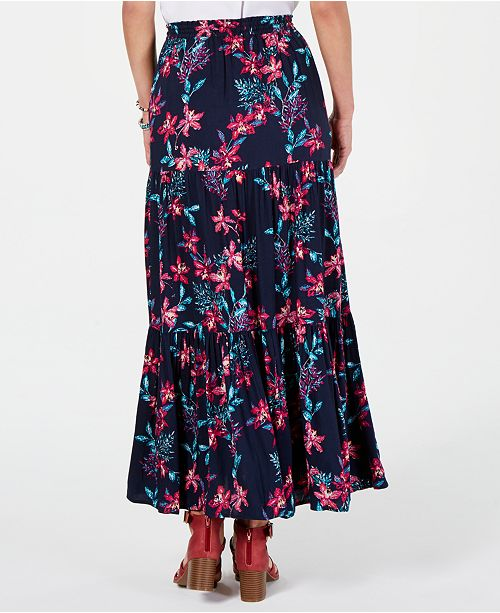 104da760e ... Style & Co Cotton Floral-Print Tiered Skirt, Created for Macy's ...