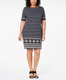 Karen Scott Plus Size Striped Dress, Created for Macy's