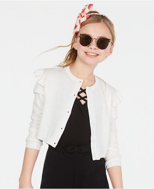 Epic Threads Little Girls Ruffle Shoulder Cropped Cardigan, Created for Macy's