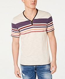 INC Men's Stripe Split-Neck T-Shirt, Created for Macy's