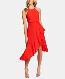 CeCe Cascading Ruffle Halter Dress