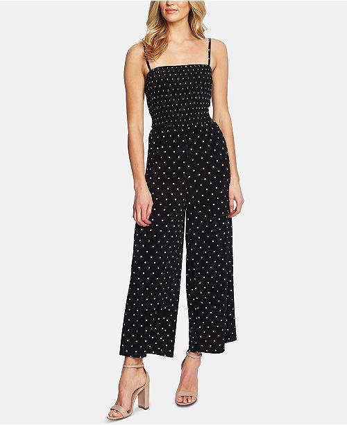 CeCe Tropic Dot Smocked Jumpsuit