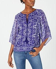 Printed Silk Split-Neck Top
