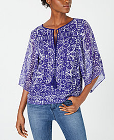 Nanette Lepore Printed Silk Split-Neck Top