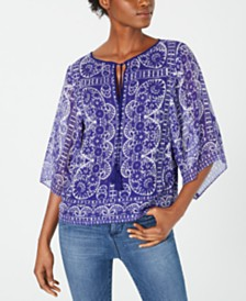 Nanette Lepore Printed Silk Split-Neck Top