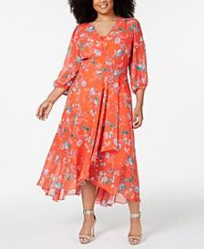Plus Size Floral Faux-Wrap High-Low Maxi Dress