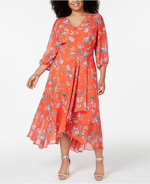 Calvin Klein Plus Size Floral Faux-Wrap High-Low Maxi Dress ...