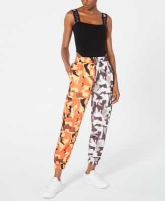 Two-Tone Camo-Print Parachute Pants