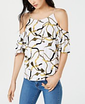52c6939ff36295 I.N.C. Printed Cold-Shoulder Top, Created for Macy's