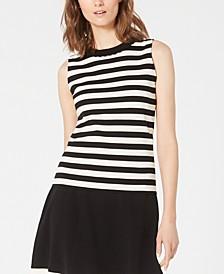 Scalloped-Neck Striped Sleeveless Sweater