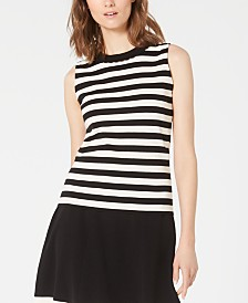 Anne Klein Scalloped-Neck Striped Sleeveless Sweater