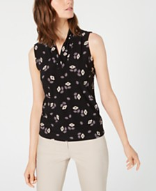 Anne Klein Sleeveless Printed V-Neck Top