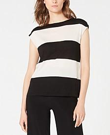 Cap-Sleeve Striped Sweater