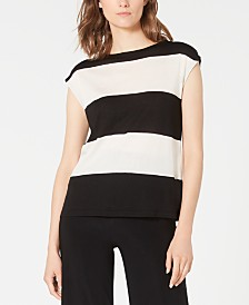 Anne Klein Cap-Sleeve Striped Sweater