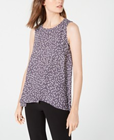 Anne Klein Sleeveless Printed High-Low Top