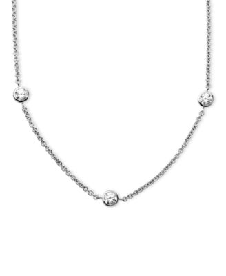 Image of Arabella Sterling Silver Necklace, White Round-Cut Swarovski Zirconia 7-Station Necklace (3-1/6 ct.