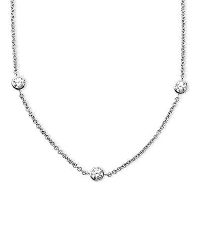 Arabella Sterling Silver Necklace, White Round-Cut Swarovski Zirconia 7-Station Necklace (3-1/6 ct. t.w.)