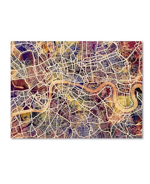 "Trademark Global Michael Tompsett 'London England Street Map' Canvas Art - 14"" x 19"""