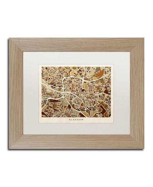 "Trademark Global Michael Tompsett 'Glasgow Street Map Brown' Matted Framed Art - 11"" x 14"""