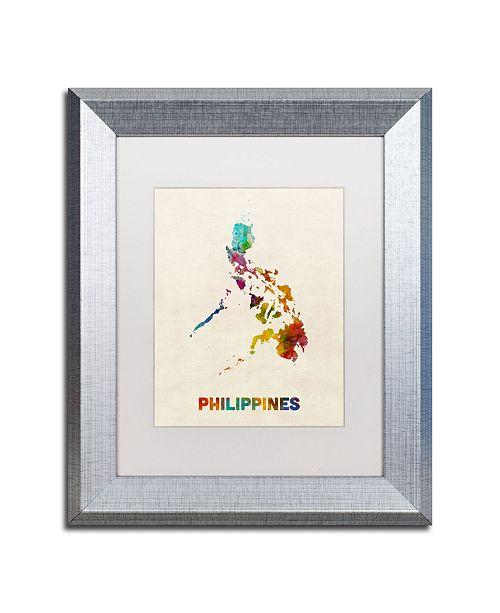 "Trademark Global Michael Tompsett 'Philippines Watercolor Map' Matted Framed Art - 11"" x 14"""