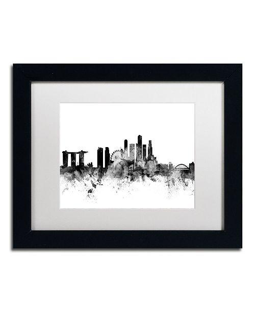 """Trademark Global Michael Tompsett 'Singapore Skyline B&W' Matted Framed Art - 11"""" x 14"""""""