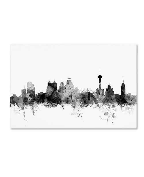 "Trademark Global Michael Tompsett 'San Antonio Texas Skyline B&W' Canvas Art - 12"" x 19"""