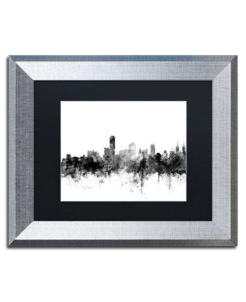 """Trademark Global Michael Tompsett 'Adelaide Australia Skyline B&W' Matted Framed Art - 11"""" x 14"""""""