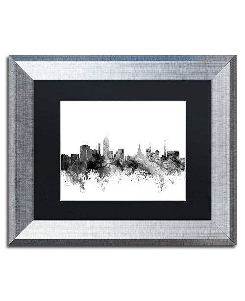 "Trademark Global Michael Tompsett 'Lansing Michigan Skyline B&W' Matted Framed Art - 11"" x 14"""