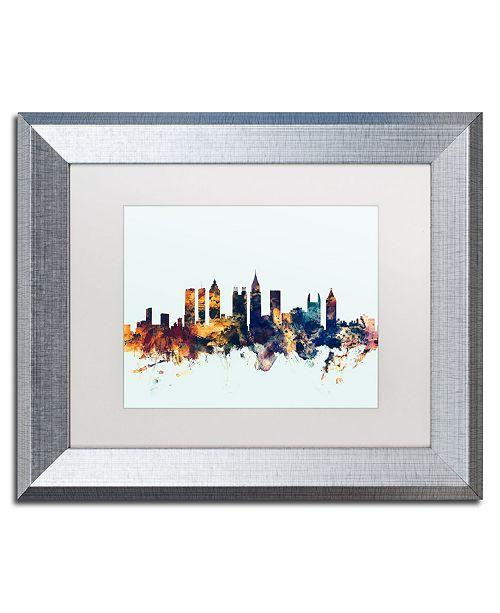 """Trademark Global Michael Tompsett 'Atlanta Georgia Skyline Blue' Matted Framed Art - 11"""" x 14"""""""