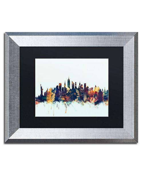 """Trademark Global Michael Tompsett 'New York City Skyline Blue' Matted Framed Art - 11"""" x 14"""""""