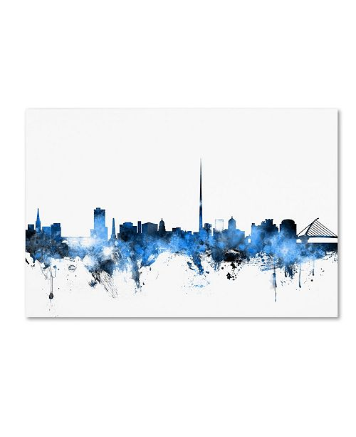 "Trademark Global Michael Tompsett 'Dublin Ireland Skyline White' Canvas Art - 12"" x 19"""