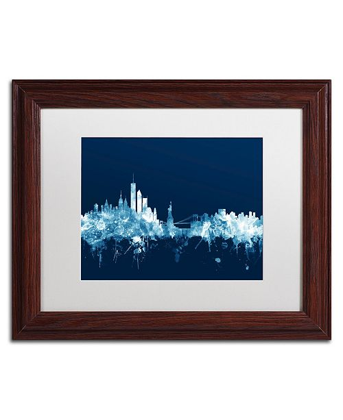 "Trademark Global Michael Tompsett 'New York Skyline Navy' Matted Framed Art - 11"" x 14"""
