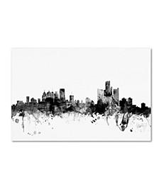 "Michael Tompsett 'Detroit Michigan Skyline B&W' Canvas Art - 12"" x 19"""