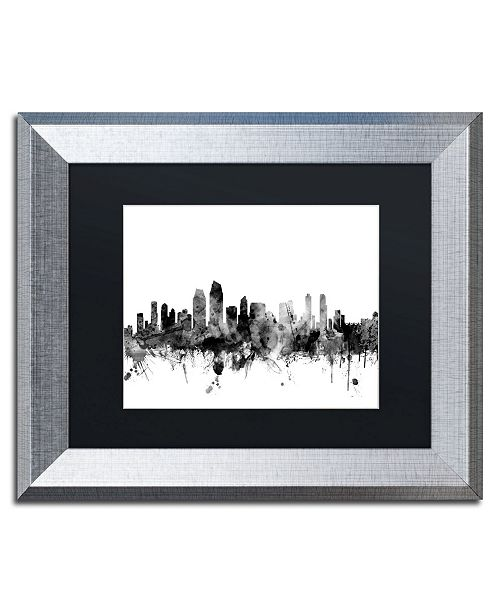 "Trademark Global Michael Tompsett 'San Diego CA Skyline B&W' Matted Framed Art - 11"" x 14"""