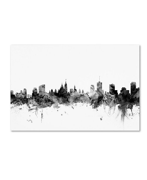 "Trademark Global Michael Tompsett 'Ottawa Canada Skyline B&W' Canvas Art - 12"" x 19"""