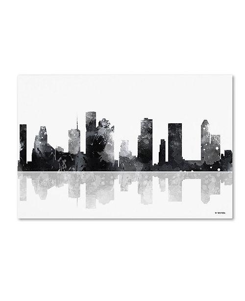 "Trademark Global Marlene Watson 'Houston Texas Skyline BG-1' Canvas Art - 12"" x 19"""