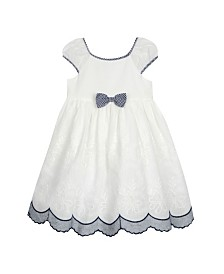 Laura Ashley Toddler and Little Girl's Puff Sleeve Bow Dress