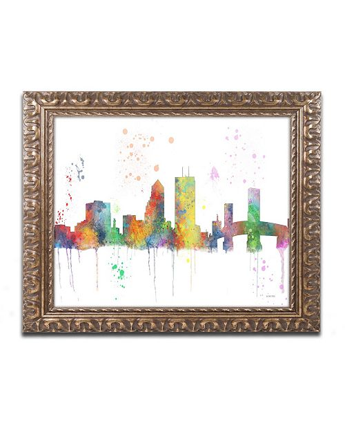 """Trademark Global Marlene Watson 'Jacksonville Florida Skyline Mclr-1' Ornate Framed Art - 11"""" x 14"""""""