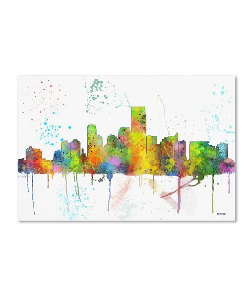 "Trademark Global Marlene Watson 'Jersey City New Jersey Skyline Mclr-1' Canvas Art - 12"" x 19"""