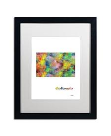 "Marlene Watson 'Colorado State Map-1' Matted Framed Art - 16"" x 20"""
