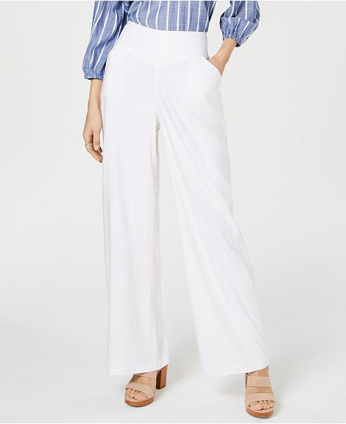 INC International Concepts I.N.C. Petite Linen Wide-Leg Pants, Created for Macy's