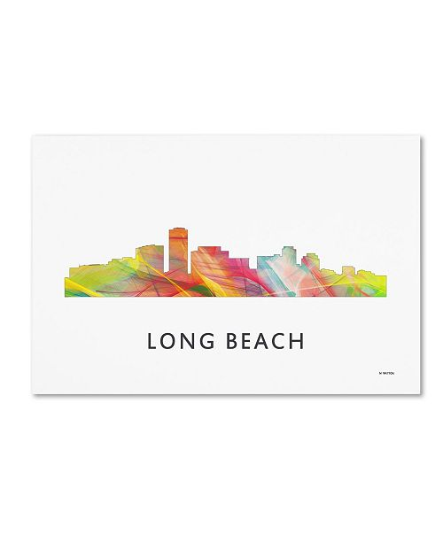 "Trademark Global Marlene Watson 'Long Beach California Skyline WB-1' Canvas Art - 12"" x 19"""