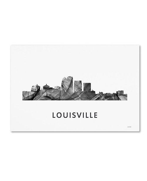 "Trademark Global Marlene Watson 'Louisville Kentucky Skyline WB-BW' Canvas Art - 12"" x 19"""
