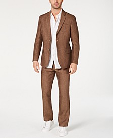 Men's Classic-Fit Brown Linen Suit Separates, Created for Macy's