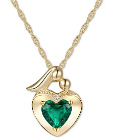 """Lab-Created Emerald (5/8 ct. t.w.) & White Sapphire Accent Mother And Child 18"""" Pendant Necklace in 14k Gold Over Sterling Silver"""